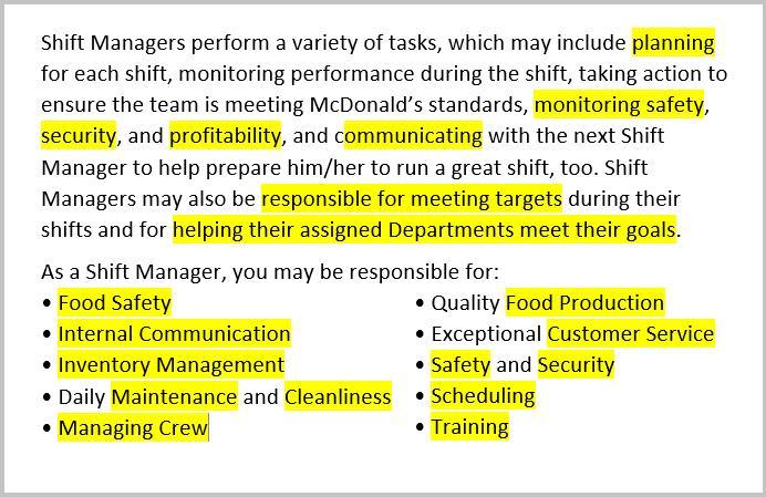 Fast Food Job Description For Resume resume examples subway - fast food resume examples