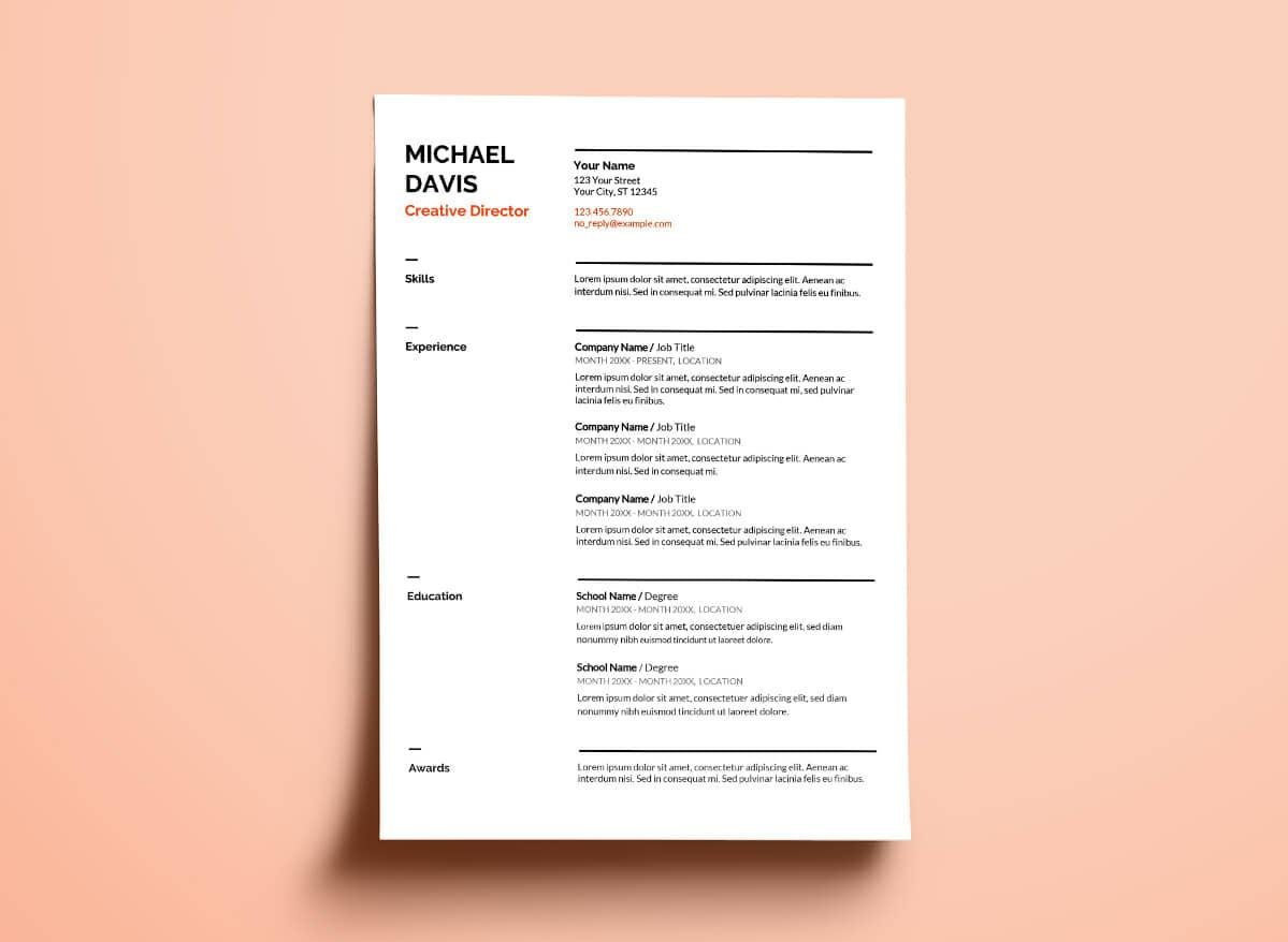 google docs template for resume