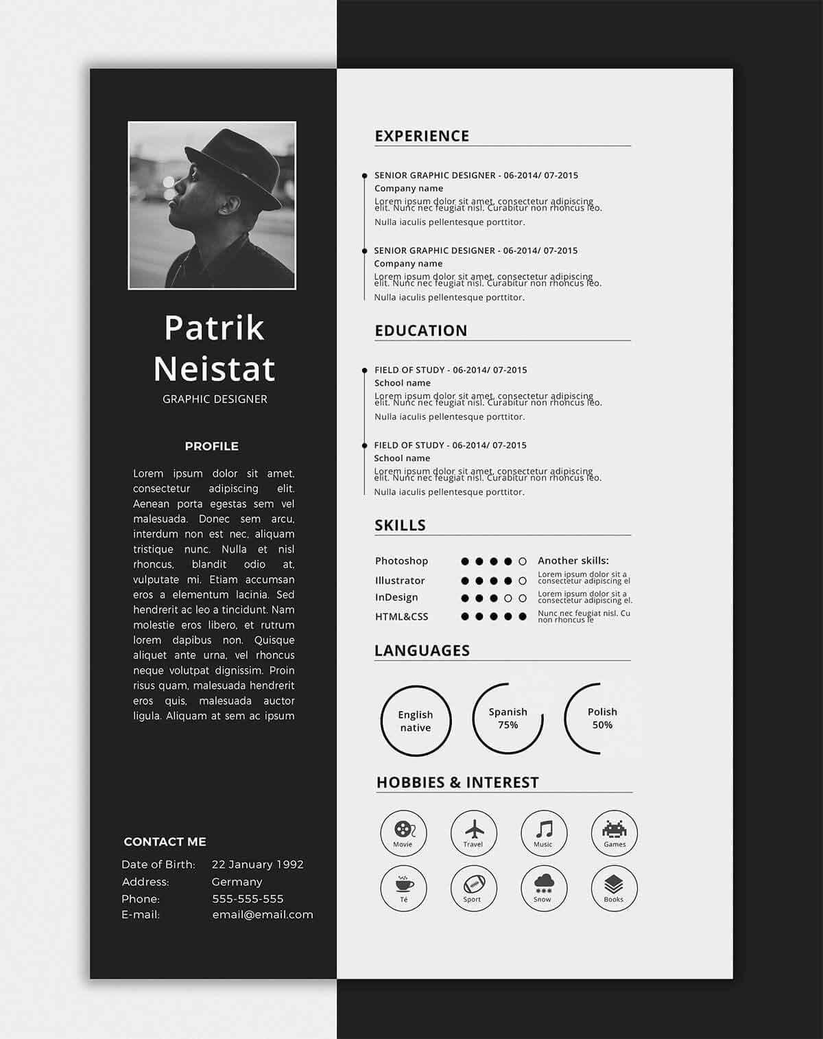 free one page resume templates 2018