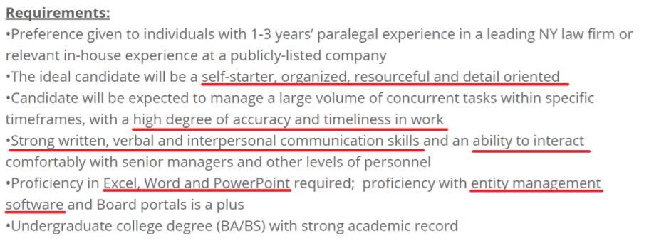 paralegal resume keywords