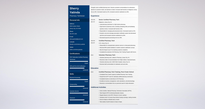 Pharmacy Technician Resume Example Resume Template Easy