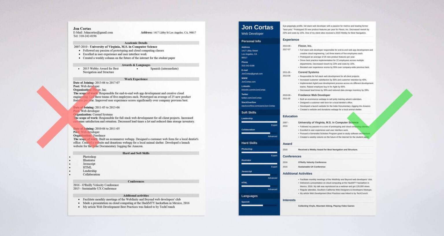 web resume examples