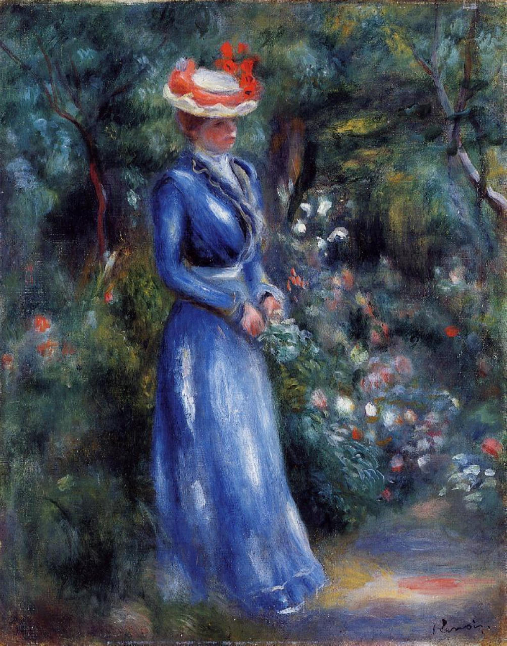 Cuadro Canvas Woman In A Blue Dress, Standing In The Garden Of Saint