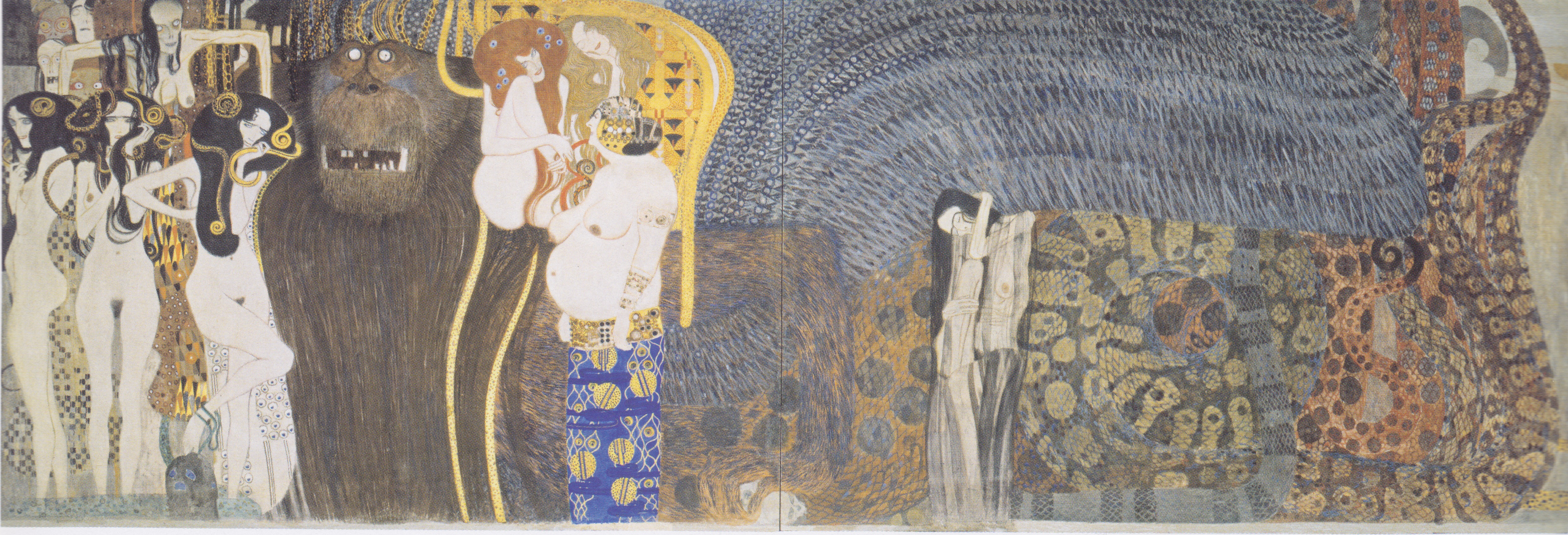Klimt Fregio Stoclet The Beethoven Frieze The Hostile Powers Far Wall 1902