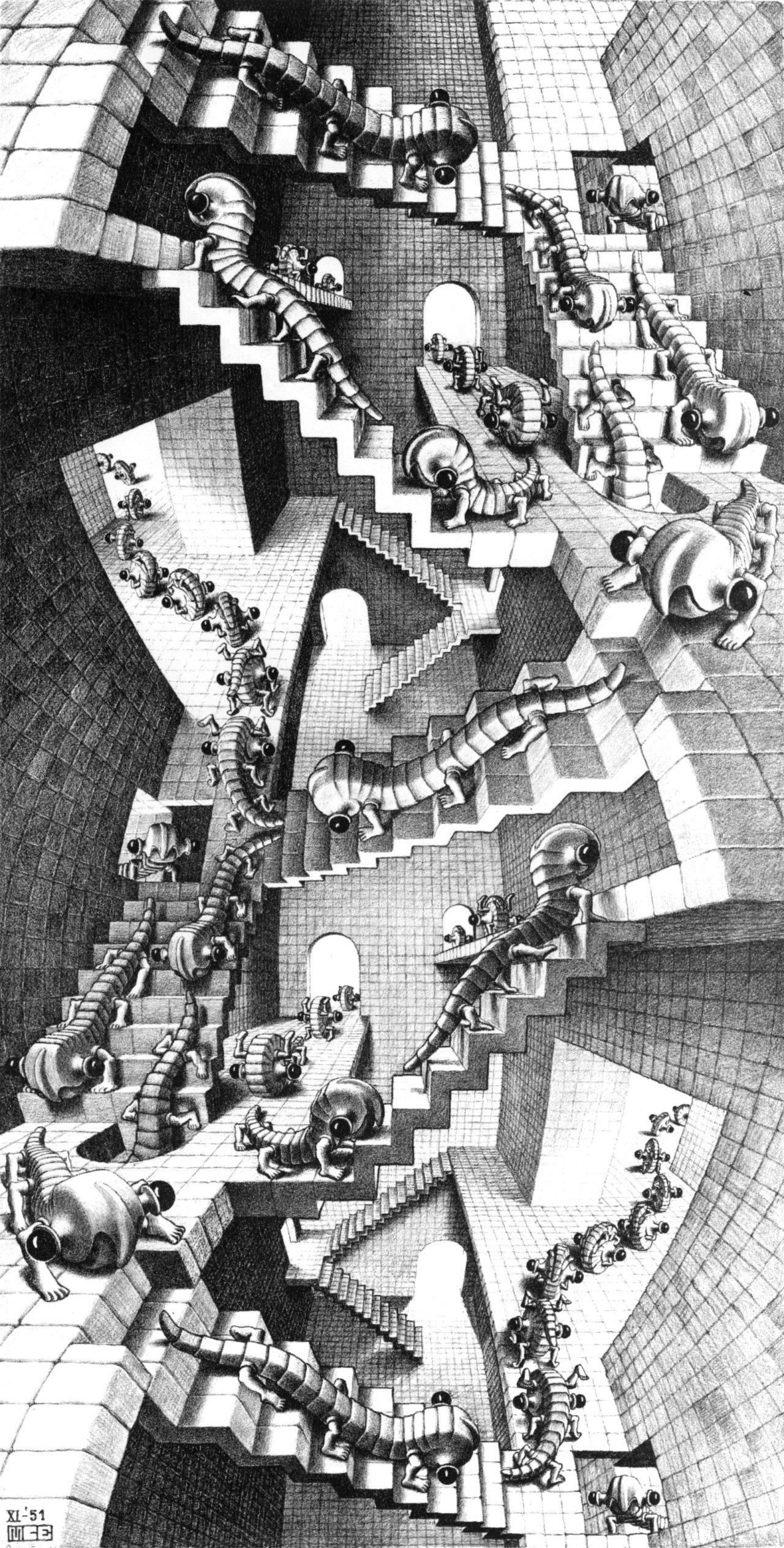 House Of Stairs House Of Stairs 1951 M C Escher Wikiart Org