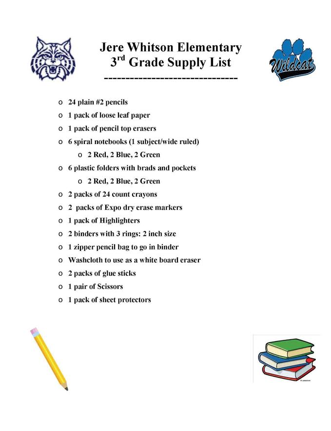 Putnam County 2017-2018 School Supply List Upper Cumberland Reporter