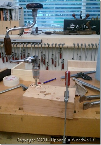 Upper Cut Woodworks Bit Brace in Drill Block Clamped to Bench