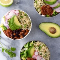 Green Chile Bean and Rice Bowls