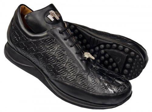 Mauri 8936 Black Hornback Crocodile Tail Mauri Embossed