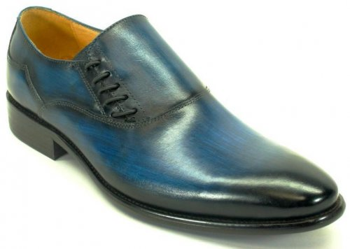 Carrucci Navy Genuine Leather With Decorative Lace Up Slip