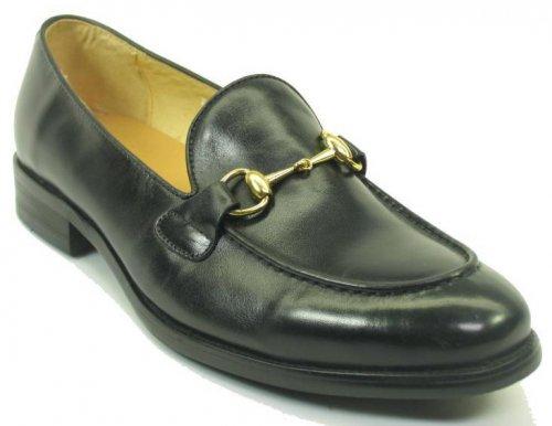 Carrucci Black Genuine Leather Buckle Loafer Ks708 02
