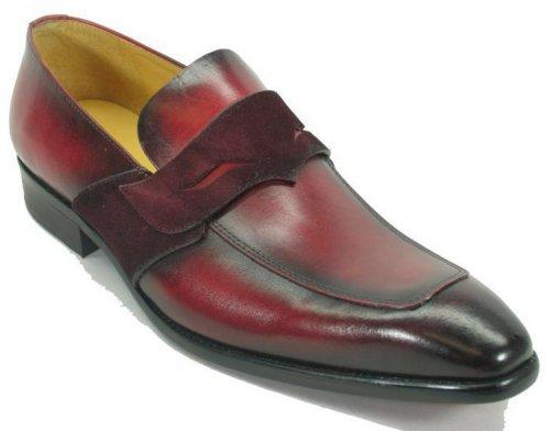 Carrucci Burgundy Genuine Leather Modern Penny Loafer