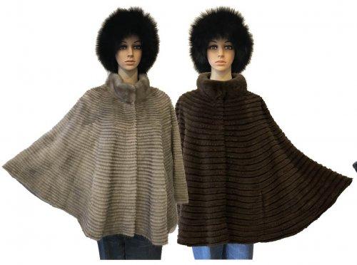 Winter Fur Ladies Genuine Mink With Stripes Cape H02