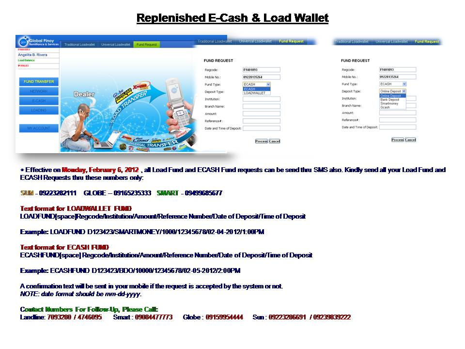 Replenishment/Funding an Account - Global Pinoy Remittance - funding request form