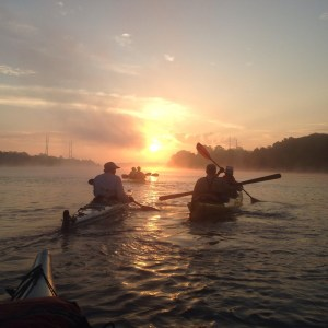 Upstream Alliance paddling the C&D canal at sunrise!