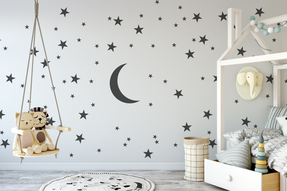 Art Wall Moon And Stars Wall Art Wall Art Stickers Wall Art Wall Stickers Nursery Wall Stickers Large Pack Of 100 Stars And Moon Stickers