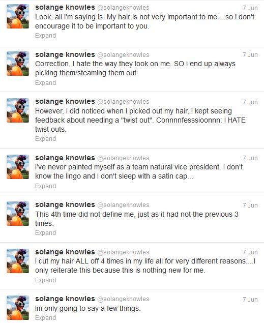 solange knowles natural hair rant tweets