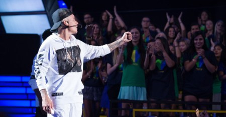 Recording artist Justin Bieber performs onstage during the Think It Up education initiative telecast for teachers and students, hosted by Entertainment Industry Foundation at Barker Hangar on September 11, 2015 in Santa Monica, California. (Christopher Polk/Getty Images North America)