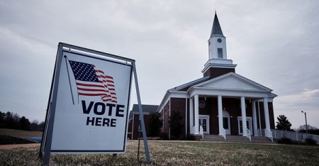 Residents vote in the South Carolina Republican presidential primary election at the Cross Roads Baptist Church in Greer, S.C., on Feb. 20. (T.J. Kirkpatrick/Bloomberg via Getty Images)