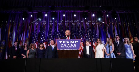 Republican president-elect Donald Trump delivers his acceptance speech during his election night event at the New York Hilton Midtown in the early morning hours of November 9, 2016 in New York City. Donald Trump defeated Democratic presidential nominee Hillary Clinton to become the 45th president of the United States. (Chip Somodevilla/Getty Images North America)