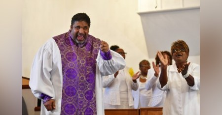 The Rev. William J. Barber II at a worship service at the Greenleaf Christian Church in Goldsboro, N.C., on Sept. 4. Barber has been pastor of the church since 1993. (Marvin Joseph/The Washington Post)