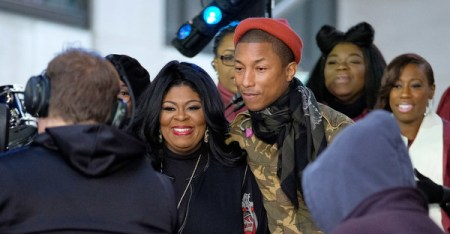 Pharrell Williams (R) and Kim Burrell pose onstage during the Citi Concert Series on TODAY at Rockefeller Center on December 9, 2016 in New York City. (D Dipasupil/Getty Images North America)