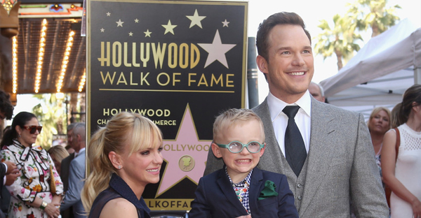 (L-R) Actor Anna Faris, Jack Pratt and actor Chris Pratt at the Chris Pratt Walk Of Fame Star Ceremony on April 21, 2017 in Hollywood, California. (Jesse Grant/Getty Images North America)