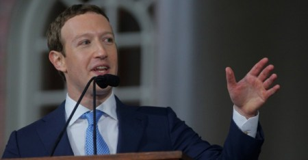 Facebook founder Mark Zuckerberg gives the commencement address on May 25 at Harvard University in Cambridge, Mass.(Brian Snyder/Reuters)