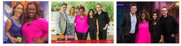 From L to R: Mandisa visits Entertainment Tonight, Home & Family and TBN's PRAISE.