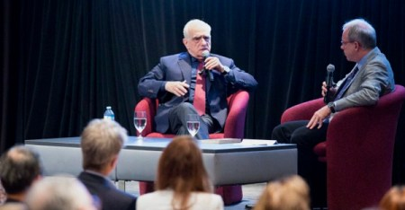 """Film director Martin Scorsese speaks with New York Times journalist Paul Elie in front of an audience at the Catholic Media Conference in Quebec City June 21 following a screening of his new movie """"Silence."""" (CNS photo/Chaz Muth)"""