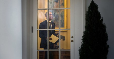 President Obama during his final moments in the Oval Office on Jan. 20. Stephen Crowley/The New York Times