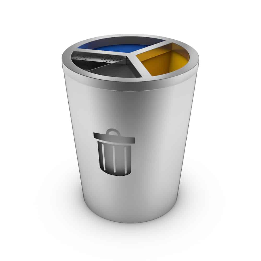 Stainless Steel Recycling Bins Geneve Stainless Steel Recycling Bin With 3 Compartments And