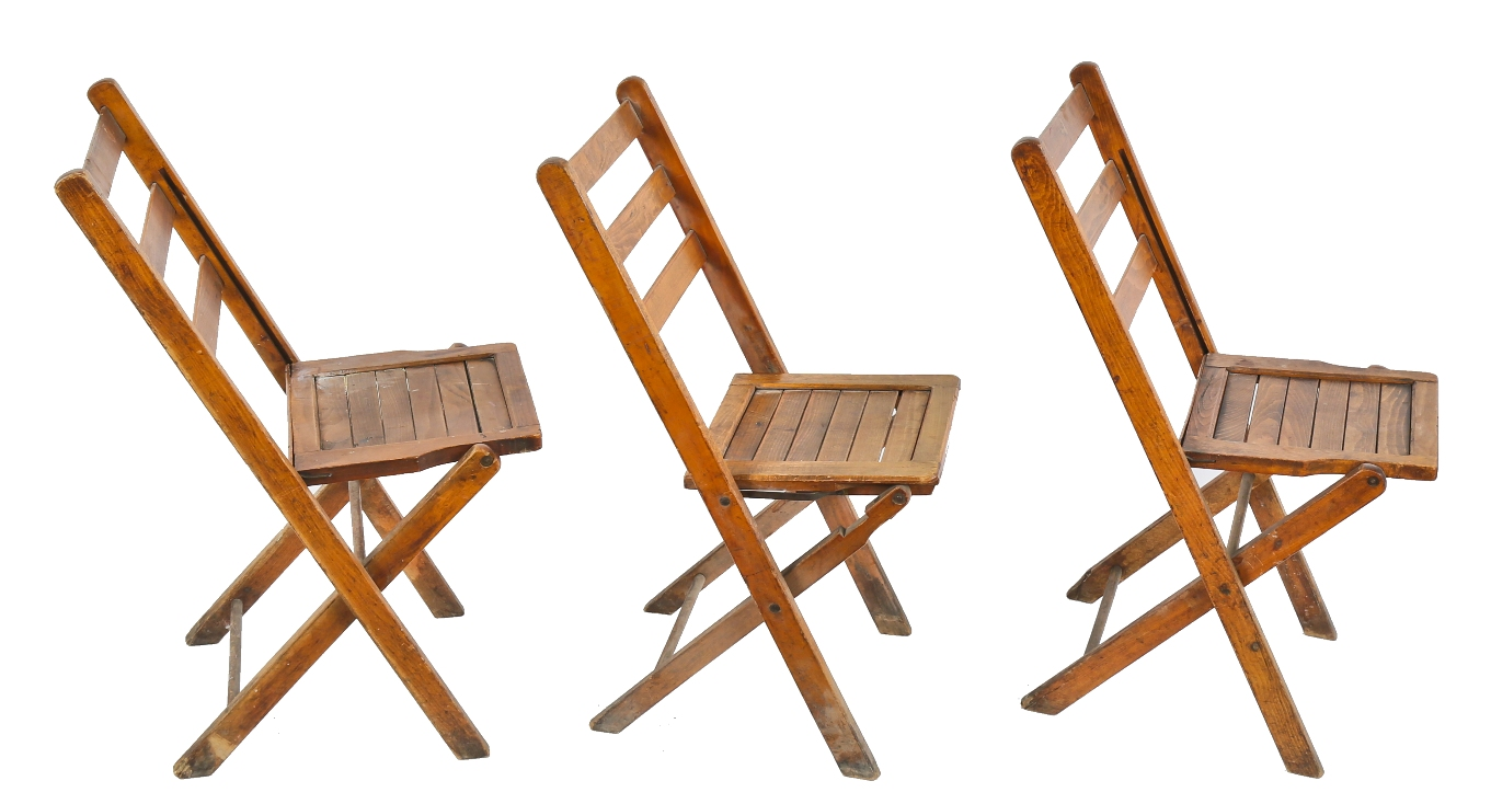 Collapsible Chair Three Matching C 1930 S Antique American Chicago Masonic Temple Varnished Maple Wood Folding Chairs With Collapsible Seats