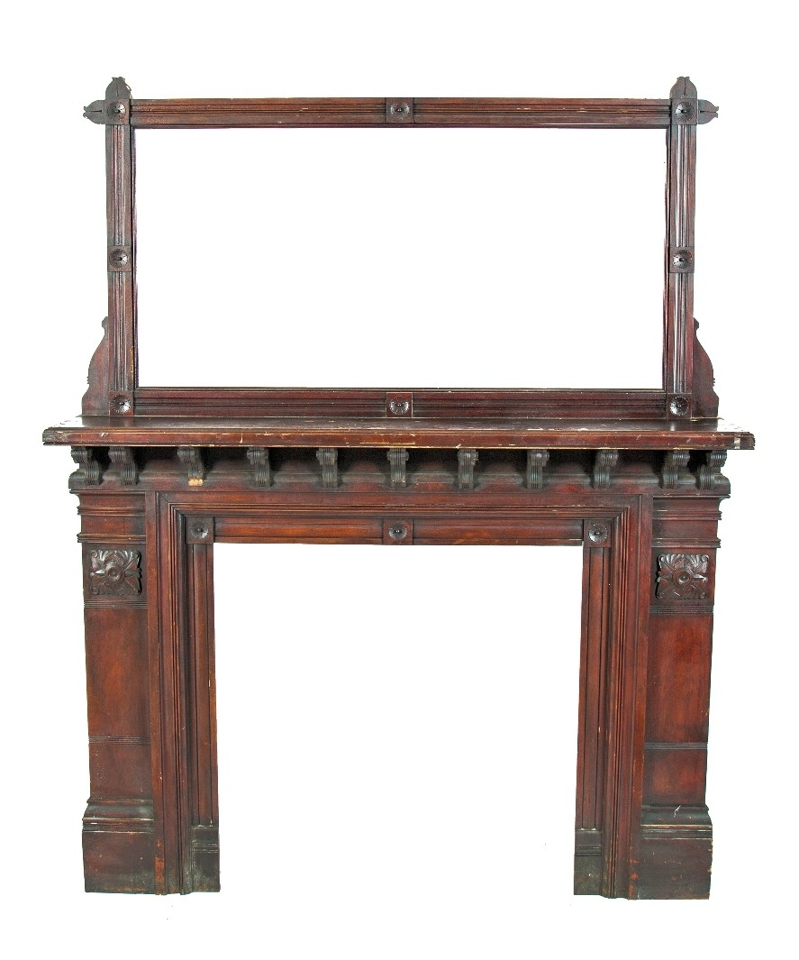Cherry Fireplace Mantels Incredible All Original And Intact Solid Cherry Wood American Aesthetic Style Or Eastlake Interior Residential Fireplace Mantel With Oversized Beveled