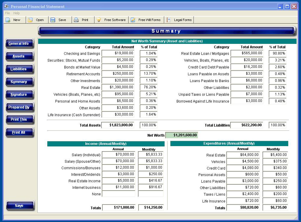 Our #1 Rated Personal Financial Statement Software for 2017 Urgent - personal net