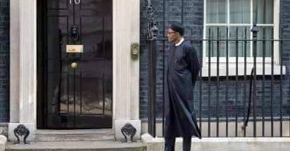 Buhari waiting outside to meet Cameron