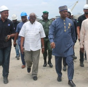 From Right: Executive Director Operations, Engr. Rotimi Fashakin, Director General, Dr. Dakuku Peterside and Executive Director Maritime Labour and Cabotage Services, Mr. Ahmed Gambo all of the Nigerian Maritime Administration and Safety Agency (NIMASA) being conducted round the facilities of the West Atlantic Shipyard (WAS) in Onne, Rivers State by an official of WAS during the tour of NIMASA operations in the Eastern Zone on Thursday 29th September 2016.