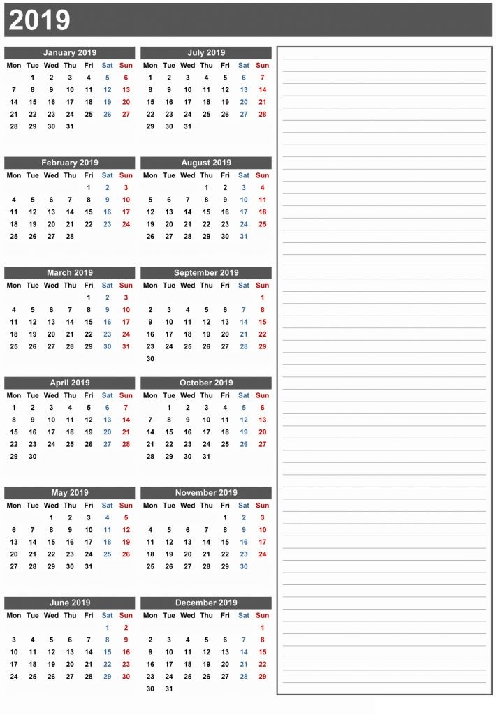 2019 Calendar Printable- 12 Month Calendar on One Page