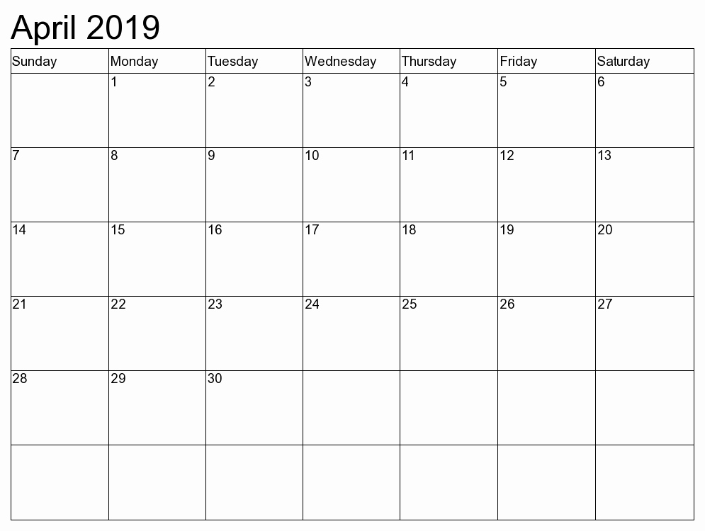 Free Printable April 2019 Calendar Template Editable