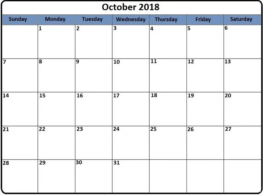 October 2018 Printable Calendar PDF Excel Word Page Sheet