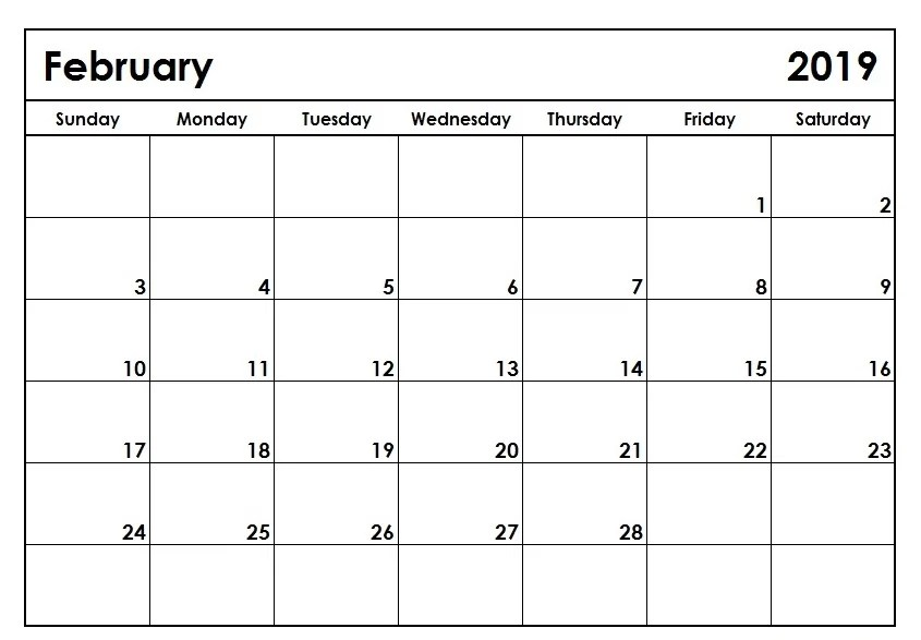 Calendar February 2019 Printable Template in PDF Word Excel