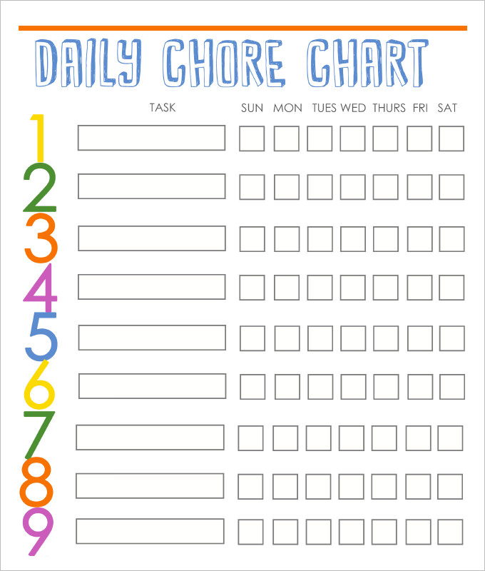 Free Printable Chore Chart Templates room surf