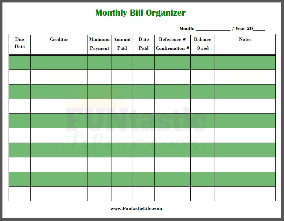 Free Printable Monthly Bill Organizer room surf