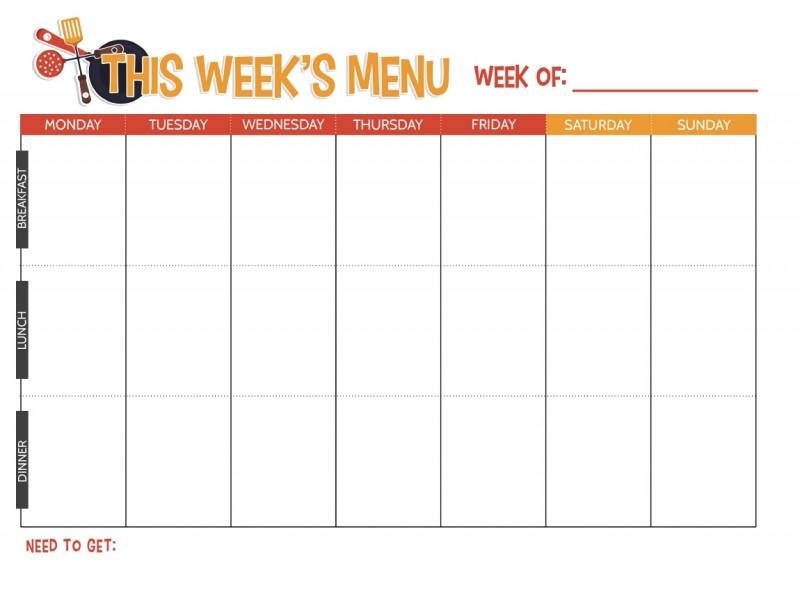 Weekly Meal Planning Printable room surf