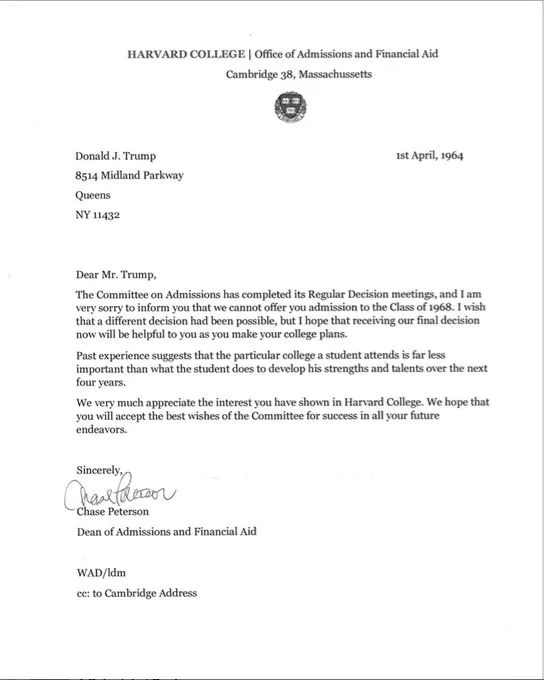 FACT CHECK Donald Trump\u0027s Harvard Rejection Letter