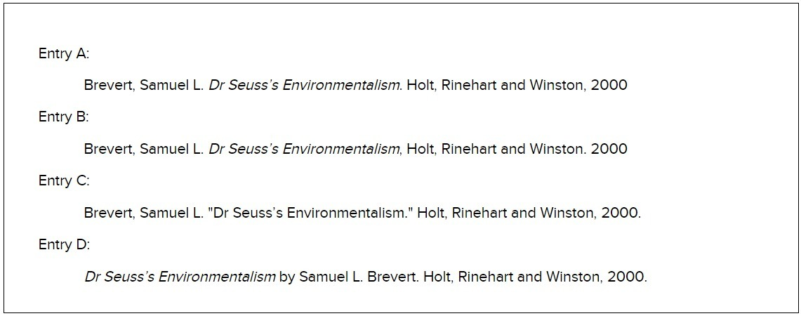 Below are works-cited entries for a book in print by one author
