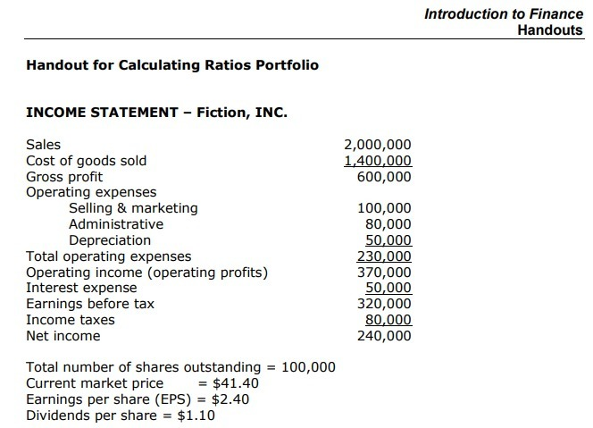 Calculating Ratios Portfolio Use a spreadsheet software program