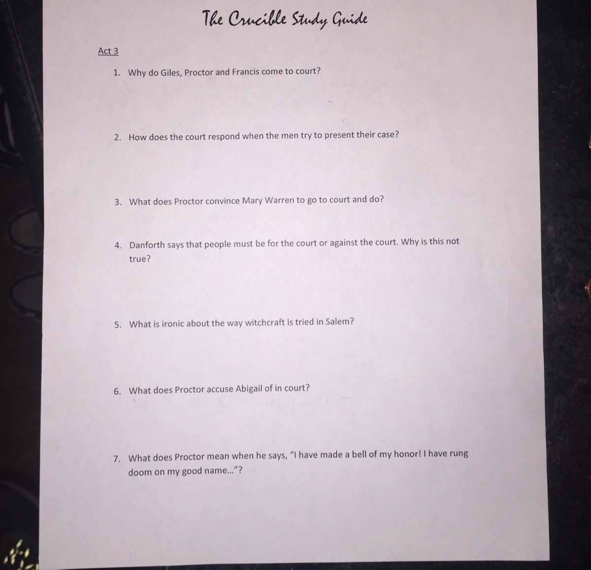 Study Guide 3 The Crucible Act 3 Study Guide Brainly