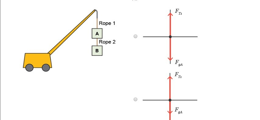 A crane lifts up two boxes Which free body diagram shows the forces