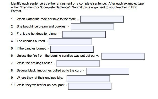 Identifying a Sentence Fragment help - Brainly